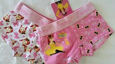 EMMA WIGGLE THE WIGGLES Girl 2x Licensed shortie trunks briefs NEW sz 3-4 , 4-6