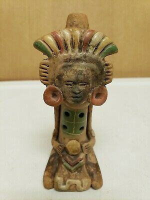 Vintage Aztec Mayan Figure Tribal Art Clay Pottery Whistle
