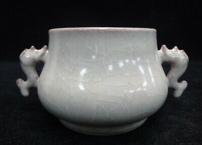 Rare Unusual Old Chinese Hand Made Porcelain Incense Burner Handles Censer
