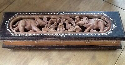 Vintage Handmade Large Hinged Wooden Box With Mother Of Pearl Inlay