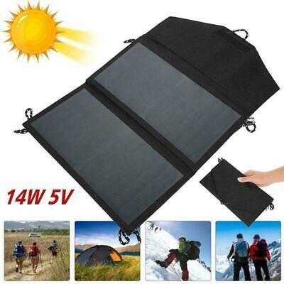 14W 5V Foldable Solar Panel Portable Outdoor Camping Charger USB Caravan Ba U7W7