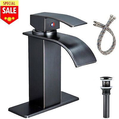 "BWE Waterfall Bathroom Sink Faucet Single Handle Lever Faucet 6"" Cover and Drain"