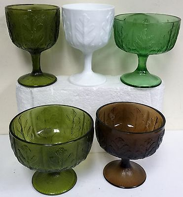 Set of 5 Vintage FTD Pedestal footed vases Oak Leaf 1975 4 pressed &1 milk glass