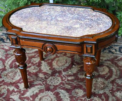 1860 Antique Victorian Renaissance Revival Carved Walnut Marble top coffee table
