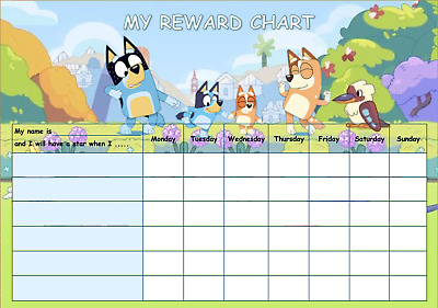 Personalised kids character Bluey reward chart + stickers + marker pen