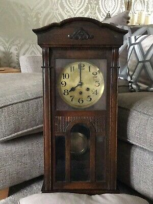 Antique Wall Clock With Key And Pendulum