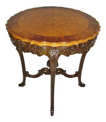 1905 Carved Antique Hall Table Birds Eye Maple Banded Inlay
