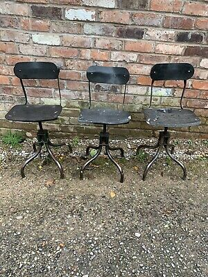 Vintage Industrial Evertaut Tansan Machinist Adjustable Swivel Stool Seat Chairs