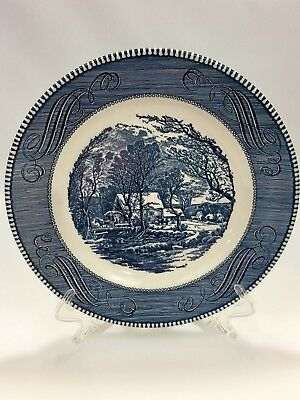 "Royal China Currier and Ives The Old Grist Mill 10"" Blue Dinner Plate Excellent"