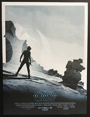 """'Star Wars-The Last Jedi' (2017) 'Rey' 12""""x16"""" Odeon UK Preview Poster-New/Mint"""