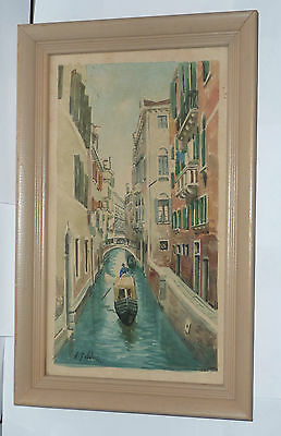 Vintage Framed Original Watercolor Painting Venice Canal Scene -- artist signed