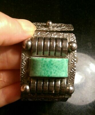 Art Deco Wide Machine Age Peking Glass And Metal Hinged Bracelet....repair