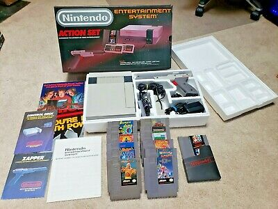 Complete In Box Nintendo Entertainment System NES Action Set w/ Games CIB