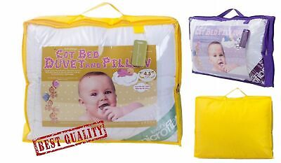 Luxury Soft Microfibre Anti Allergy Cot Bed Duvets and Pillow Toddler Bed Quilts