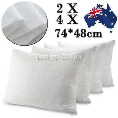 2/4PCS Waterproof Pillow Protector Case Slip - Zipper Opening - Anti-allergy