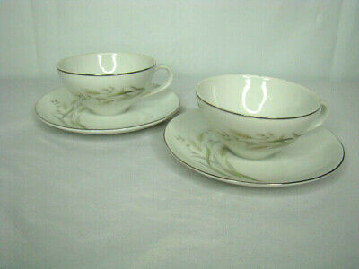 Nasco Saxony Japan Tea Cups and Saucer 4 Piece Fine China Vintage RARE FIND XXX9