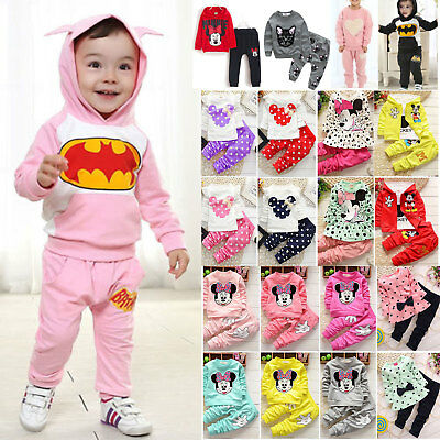 Kids Baby Girls Mickey Minnie Batman Winter Outfits Set Sweatshirt Tops Pants US