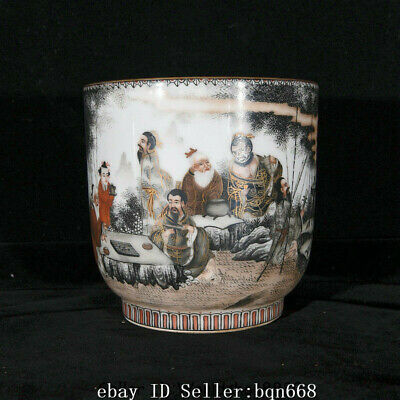 "5.4"" Qianlong Marked China Qing Dynasty grisaille Painting Porcelain figure Cup"