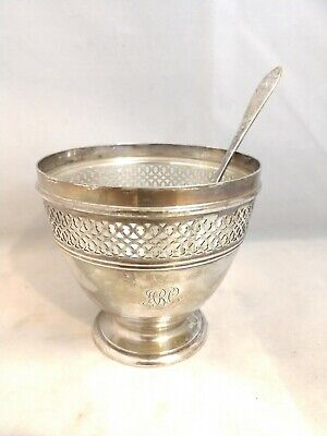 Antique Tiffany & Co Sterling Silver Caviar Dish w/Glass Liner & Spoon No Lid