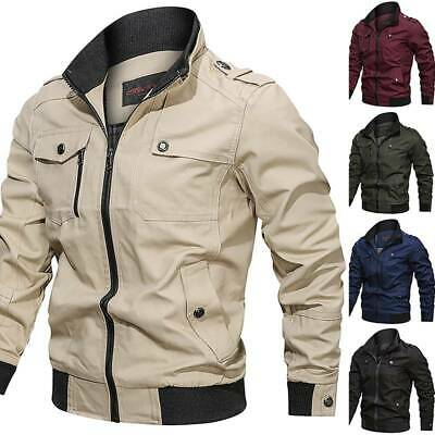 Mens Military Cotton Jackets Casual Collar Bomber Jacket Coat Parkas Outwear Top