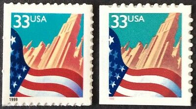 Two 1999 33c Flag and City Booklet Singles, Scott #3278-79, MNH VF