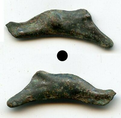 Quality ancient bronze AE26 dolphin-shaped coin, Olbia, Sarmatia, 5th/4th C. BC