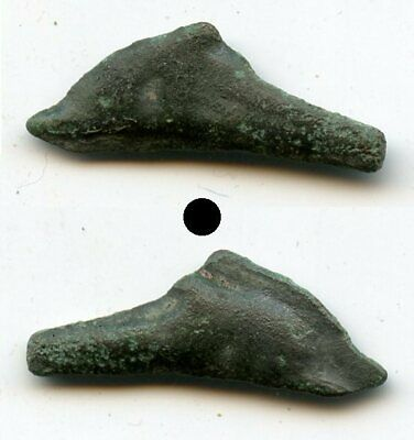 Nice ancient bronze AE25 dolphin-shaped coin, Olbia, Sarmatia, 5th/4th C. BC