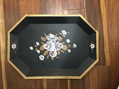 Vtg HUGE Toleware Metal Tray Hand Painted Tole Black Floral Rose Shabby Chic
