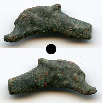 Quality ancient bronze AE22 dolphin-shaped coin, Olbia, Sarmatia, 5th/4th C. BC