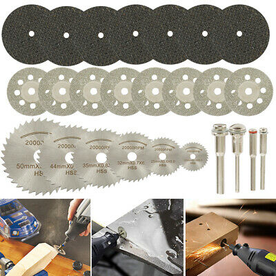 32x Mini Diamond Cutting Discs Wheel Blades Set+Drill Bit For Dremel Rotary Tool