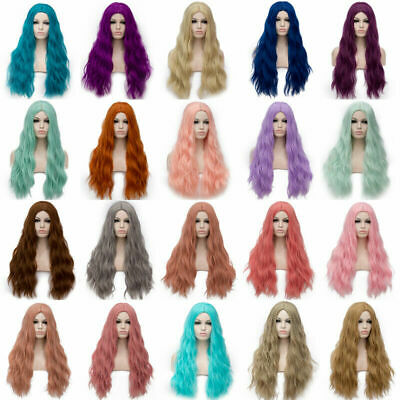 Women Fashion Anime Long Curly Wavy Hair Party Cosplay Fluffy Full Wig Lolita UK