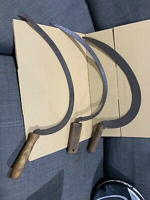 3x Antique Sickle; Made In England; Old Tool; Collectable (2-75)