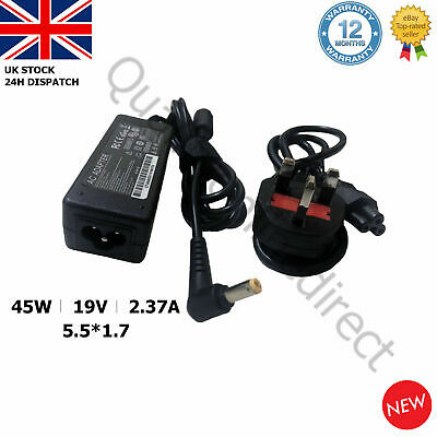 GENUINE Acer Laptop Charger Adapter  A13-045N2A 19V2.37A 45W 5.5x1.7mm + UK CORD