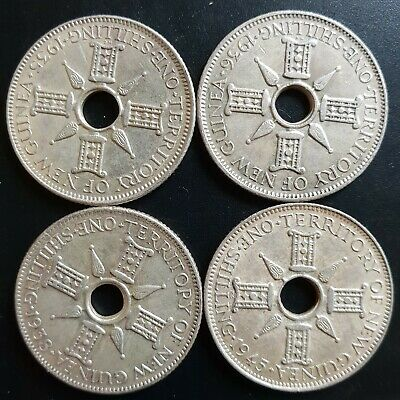 1935/36/38/45 Papua New Guinea Set four nice silver shillings aUnc.....