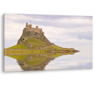 Lindisfarne Castle Holy Island Boat Northumberland Canvas Wall Art Picture Print