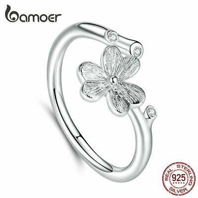 BAMOER Women AAA CZ Four-leaf ring Solid s925 Sterling silver Fashion Jewelry