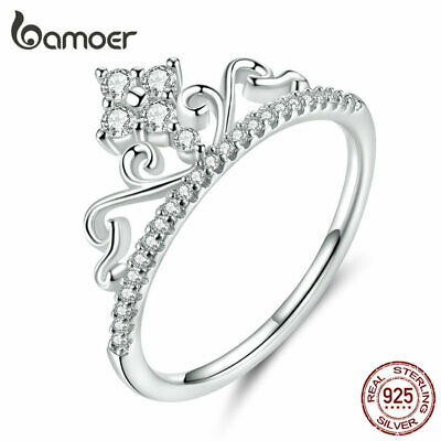 BAMOER Fine Women CZ Princess ring Solid s925 Sterling silver Fashion Jewelry
