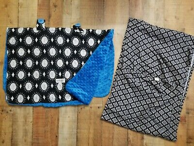 Carseat Canopy + Seven Baby Carrier Sling Black And Blue Damask