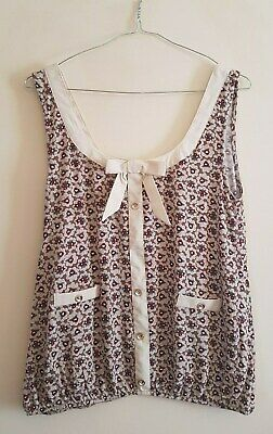 Ref 654 - RIVER ISLAND - Ladies Womens Girls Brown Sleeveless Floral Top Size 8
