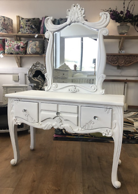 Solid Mahogany French Rococo Chateau Style Antique white dressing table & stool