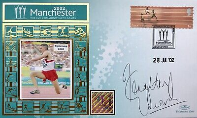 Jonathan Edwards HAND SIGNED Benham Silk Athletics First Day Cover FDC Olympics