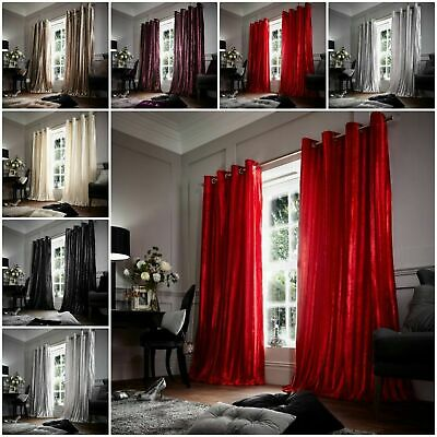 Stripe Shiny Luxury Curtains Ready Made Eyelet Top Fully Lined Faux Fur Curtains