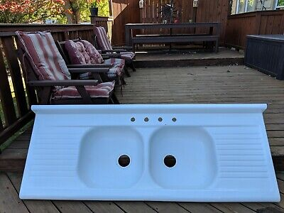 Vintage Porcelain Over Metal Farmhouse Drainboard Double Sink