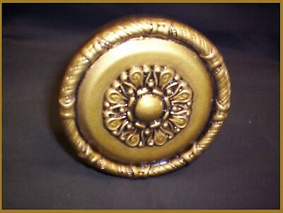 "CURTAIN TIE BACK 4"" MEDALLION DRAPERY SCARF HOLDER Antique GOLD Wall mounted NEW"