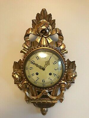 antique swedish wall clock wood gilded Gustavian Rococo