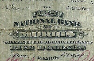 1902 $5 The First National Bank Of Morris Illinois  - Red Signatures