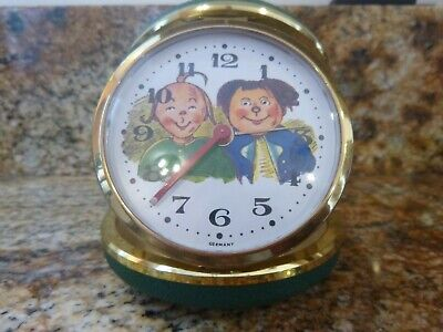 Vintage Germany Max & Moritz Flip Close WindUp Travel Alarm Clock Whimiscal RARE