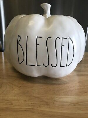 Rae Dunn White Blessed Pumpkin- Medium Size- Brand New!