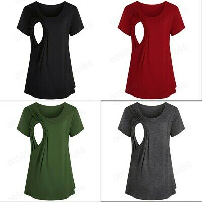 Womens Maternity Nursing Breastfeeding Blouse Pregnant T Shirt Long Sleeve Tops