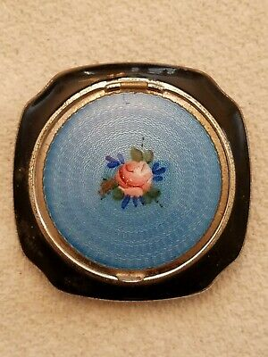 1920s EVANS Mayfair ART DECO Guilloche Enamel Powder & Rouge Metal Compact Rose
